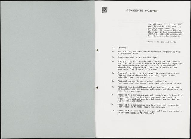 Hoeven: Notulen gemeenteraad, 1928-1996 1991-01-01