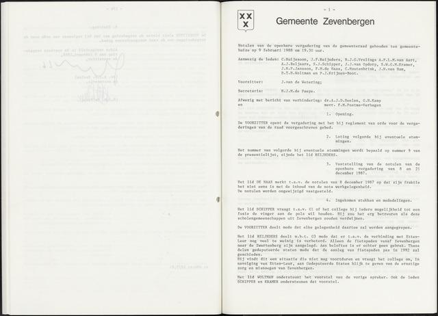 Zevenbergen: Notulen gemeenteraad, 1930-1996 1988-01-01