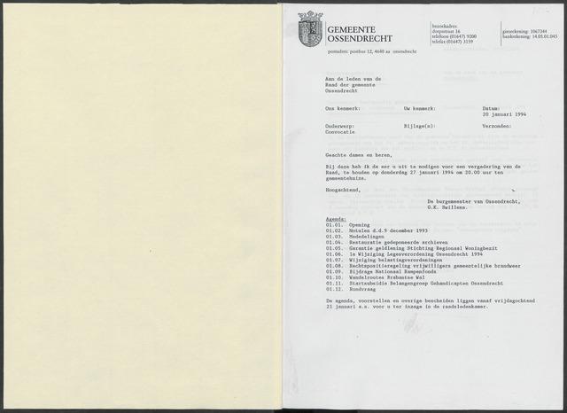 Ossendrecht: Notulen gemeenteraad, 1920-1996 1994