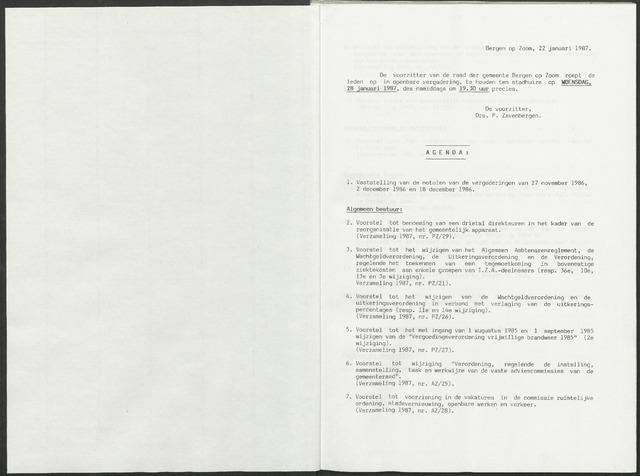 Bergen op Zoom: Notulen gemeenteraad, 1926-1996 1987-01-01