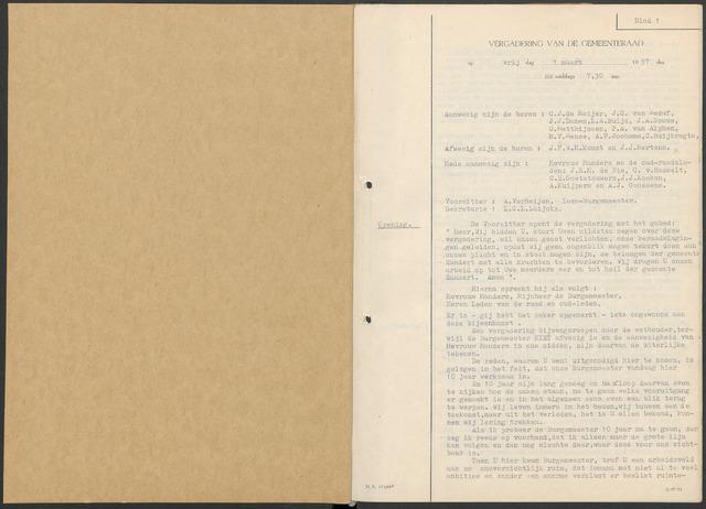 Zundert: Notulen gemeenteraad, 1934-1988 1957-01-01