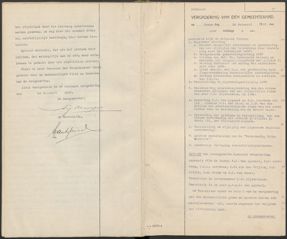Huijbergen: Notulen gemeenteraad 1935-1996 1937-01-01