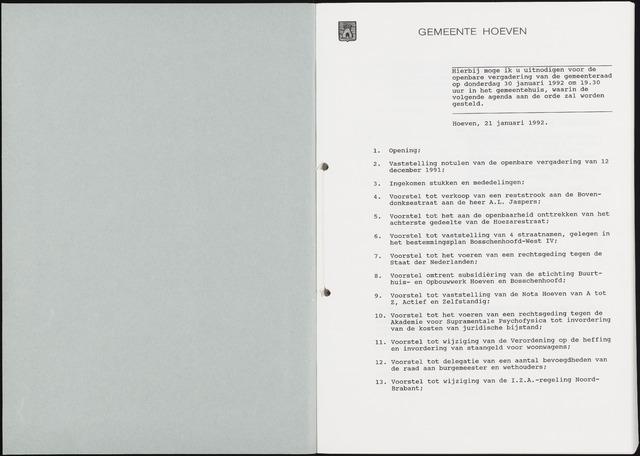 Hoeven: Notulen gemeenteraad, 1928-1996 1992-01-01