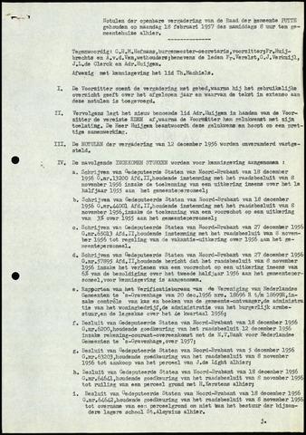 Putte: Notulen gemeenteraad, 1928-1996 1957-01-01