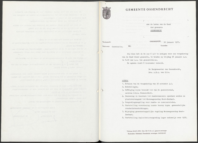 Ossendrecht: Notulen gemeenteraad, 1920-1996 1977