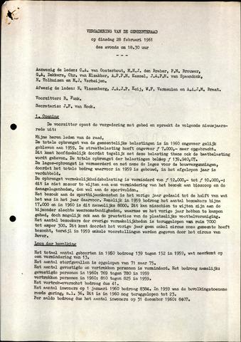 Oudenbosch: Notulen gemeenteraad, 1939-1994 1961-01-01
