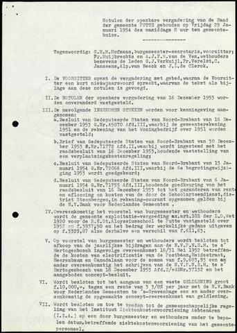 Putte: Notulen gemeenteraad, 1928-1996 1954-01-01