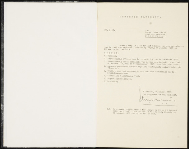 Klundert: Notulen gemeenteraad, mei 1933-1996 1968