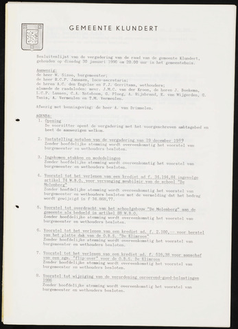 Klundert: Notulen gemeenteraad, mei 1933-1996 1990
