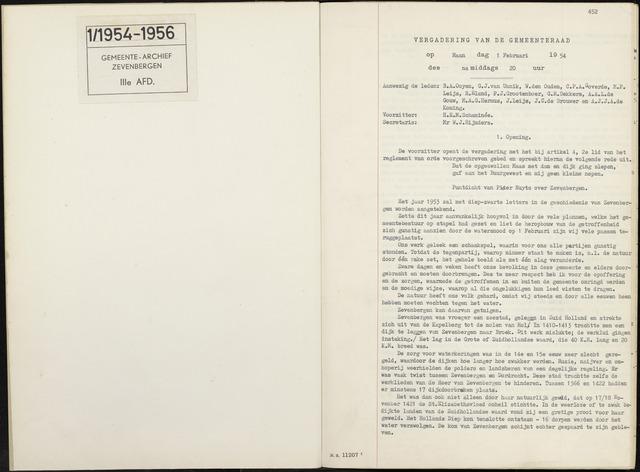 Zevenbergen: Notulen gemeenteraad, 1930-1996 1954-01-01