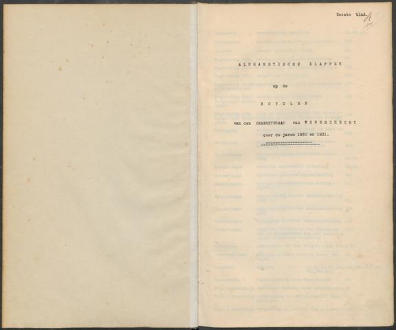 Woensdrecht: Notulen gemeenteraad, 1922-1996 1930-01-01