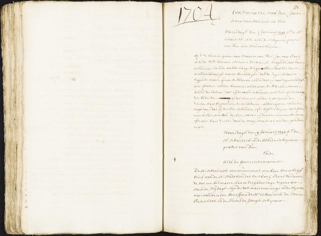 Roosendaal: Registers van resoluties, 1671-1673, 1675, 1677-1795 1704