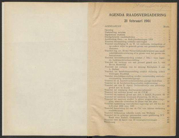Steenbergen: Notulen gemeenteraad, 1920-1996 1961-01-01