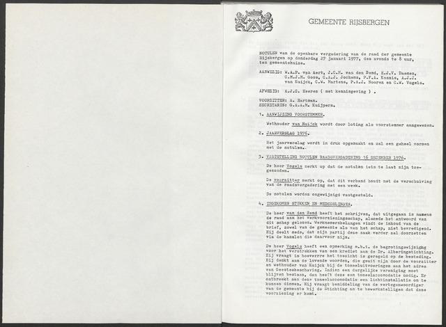 Rijsbergen: Notulen gemeenteraad, 1940-1996 1977
