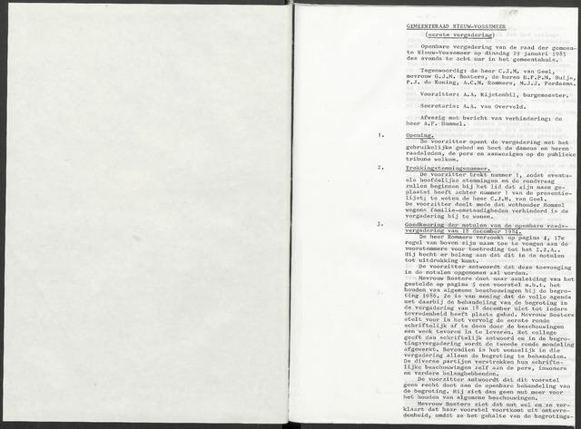 Nieuw-Vossemeer: Notulen gemeenteraad, 1957-1996 1985-01-01