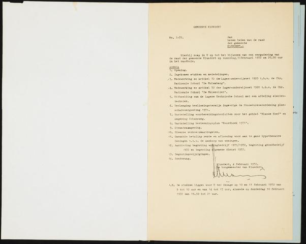Klundert: Notulen gemeenteraad, mei 1933-1996 1972