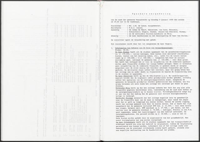 Woensdrecht: Notulen gemeenteraad, 1922-1996 1990-01-01