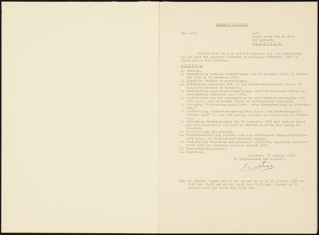 Klundert: Notulen gemeenteraad, mei 1933-1996 1973