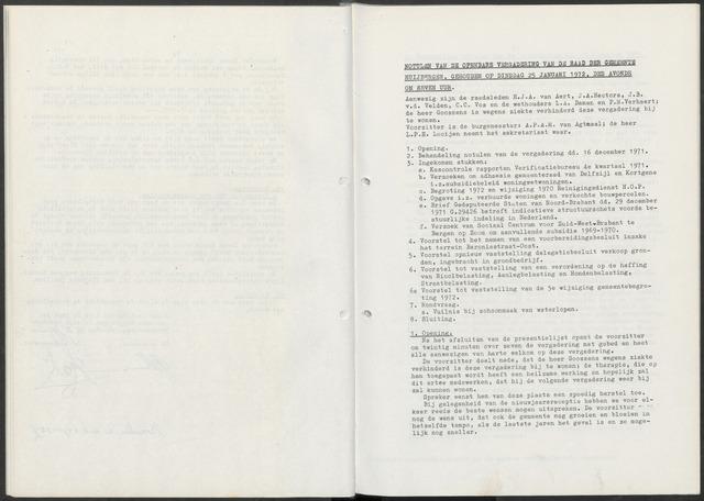 Huijbergen: Notulen gemeenteraad 1935-1996 1972-01-01