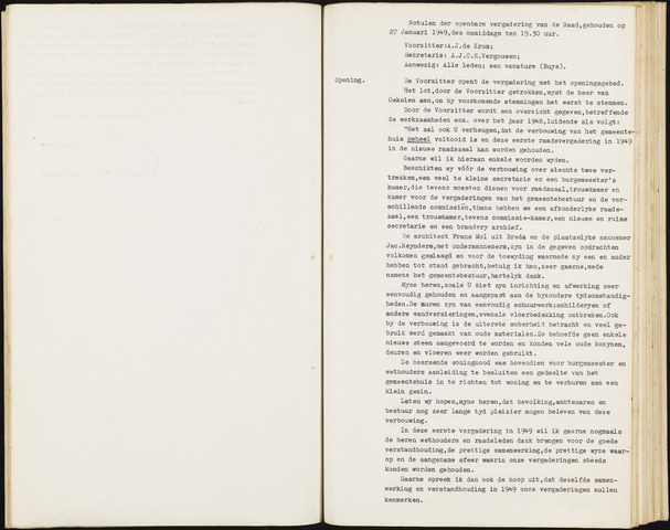 Hoeven: Notulen gemeenteraad, 1928-1996 1949-01-01