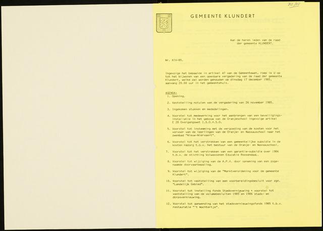 Klundert: Notulen gemeenteraad, mei 1933-1996 1985