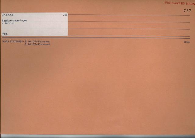 Fijnaart en Heijningen: notulen gemeenteraad, 1934-1995 1986