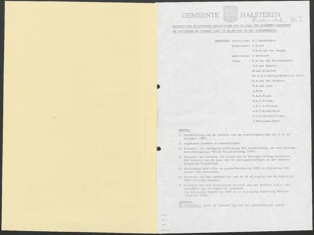 Halsteren: Notulen gemeenteraad, 1960-1996 1985