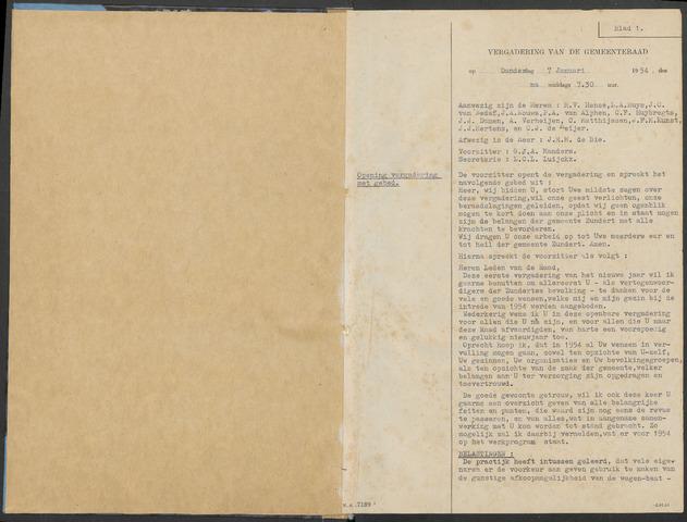 Zundert: Notulen gemeenteraad, 1934-1988 1954-01-01
