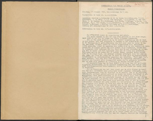 Bergen op Zoom: Notulen gemeenteraad, 1926-1996 1956-01-01