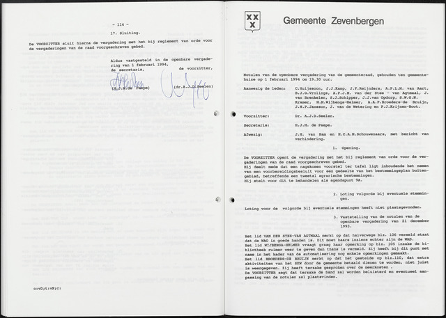 Zevenbergen: Notulen gemeenteraad, 1930-1996 1994-01-01