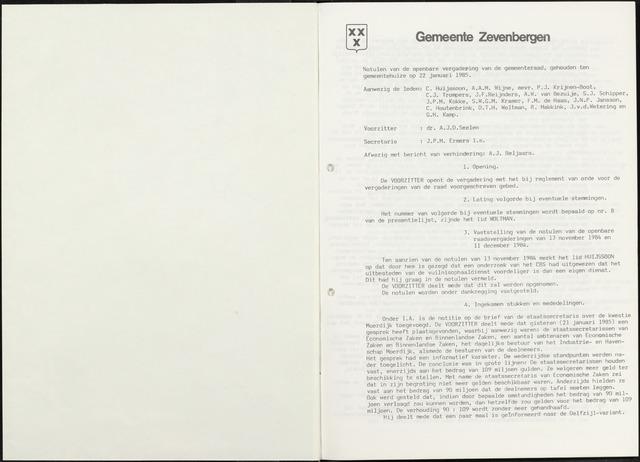 Zevenbergen: Notulen gemeenteraad, 1930-1996 1985-01-01
