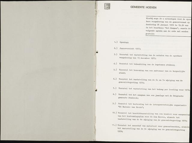 Hoeven: Notulen gemeenteraad, 1928-1996 1978-01-01