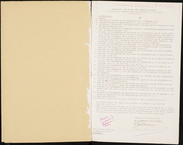 Klundert: Notulen gemeenteraad, mei 1933-1996 1958