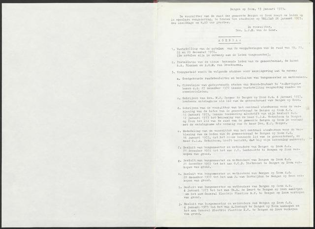 Bergen op Zoom: Notulen gemeenteraad, 1926-1996 1973-01-01