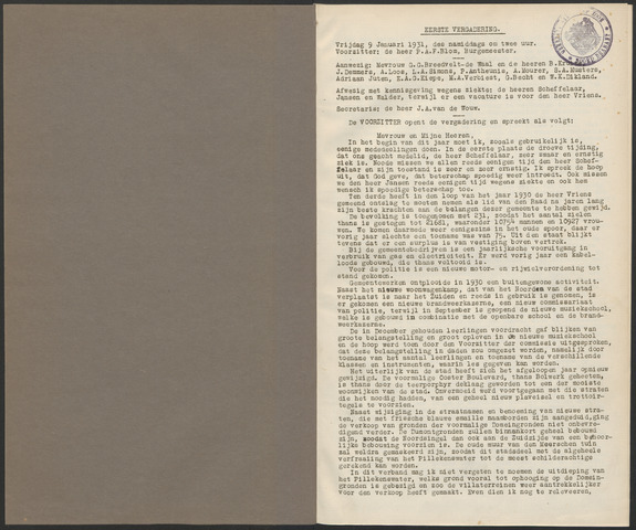 Bergen op Zoom: Notulen gemeenteraad, 1926-1996 1931-01-01