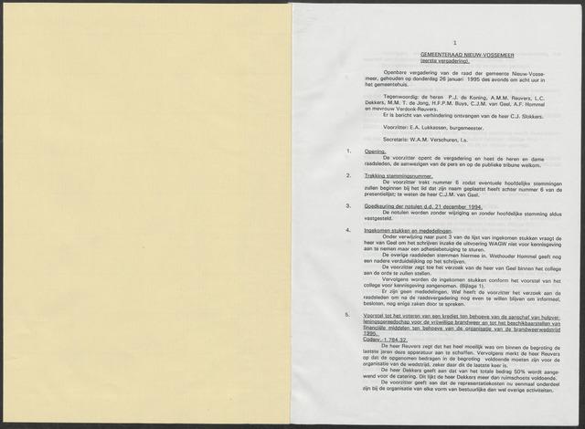 Nieuw-Vossemeer: Notulen gemeenteraad, 1957-1996 1995-01-01