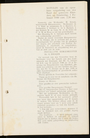 Klundert: Notulen gemeenteraad, mei 1933-1996 1940