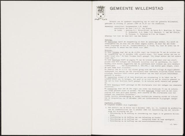 Willemstad: Notulen gemeenteraad, 1927-1995 1984-01-01