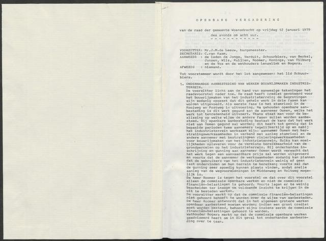 Woensdrecht: Notulen gemeenteraad, 1922-1996 1979-01-01