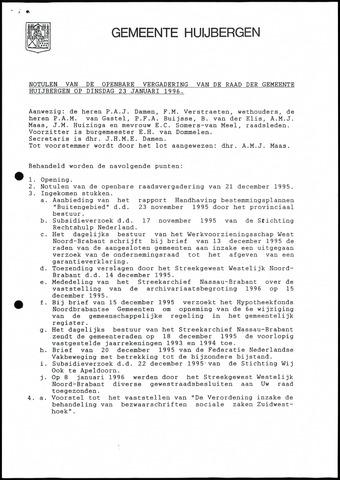 Huijbergen: Notulen gemeenteraad 1935-1996 1996-01-01