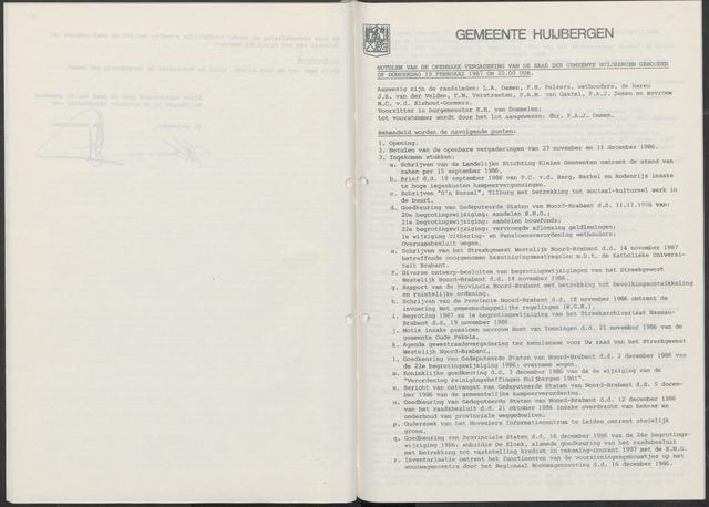Huijbergen: Notulen gemeenteraad 1935-1996 1987-01-01