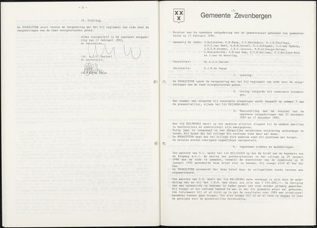Zevenbergen: Notulen gemeenteraad, 1930-1996 1990-01-01