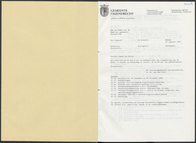 Ossendrecht: Notulen gemeenteraad, 1920-1996 1991