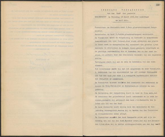 Woensdrecht: Notulen gemeenteraad, 1922-1996 1936-01-01