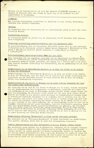 Rijsbergen: Notulen gemeenteraad, 1940-1996 1957