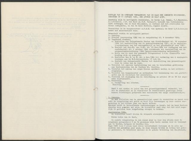 Huijbergen: Notulen gemeenteraad 1935-1996 1965-01-01