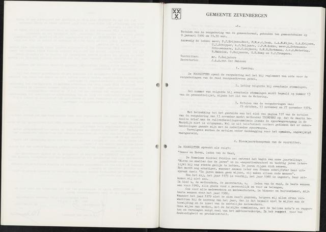 Zevenbergen: Notulen gemeenteraad, 1930-1996 1980-01-01