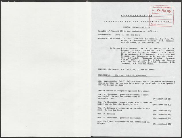 Bergen op Zoom: Notulen gemeenteraad, 1926-1996 1994-01-01