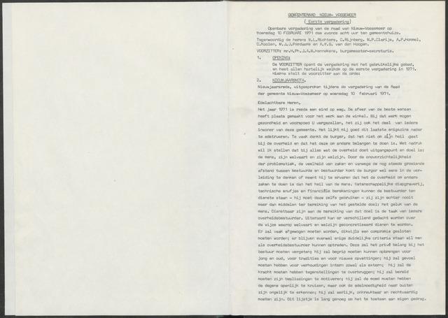 Nieuw-Vossemeer: Notulen gemeenteraad, 1957-1996 1971-01-01