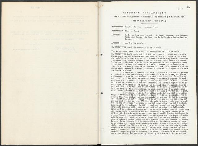 Woensdrecht: Notulen gemeenteraad, 1922-1996 1962-01-01